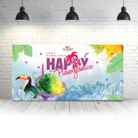 baner reklamowy lody hawajskie happyice siorbet 100 x 50
