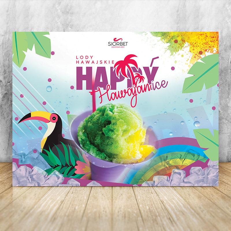 baner reklamowy lody hawajskie happyice siorbet 200 x 150